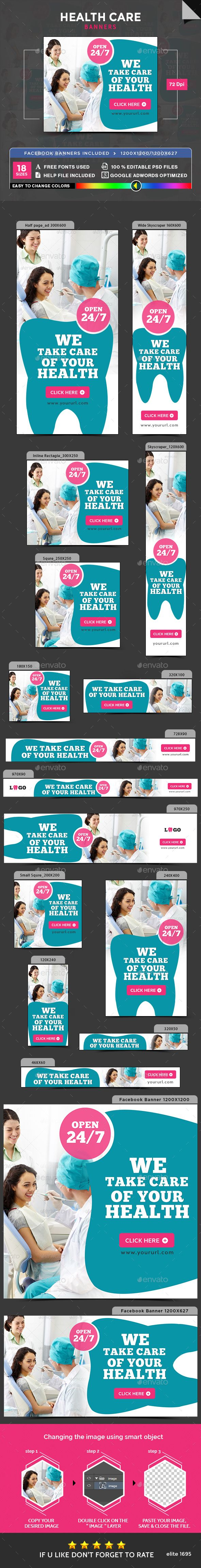 Health Care Banners Template PSD #promote Download here: https://graphicriver.net/item/health-care-banners/17345285?ref=ksioks
