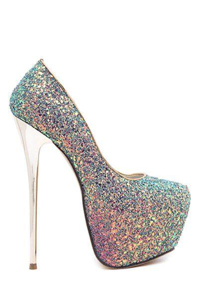 Iridescent Platform Stiletto Heel Pumps #heels #shoes