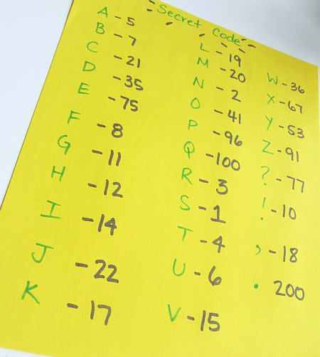 secret code math activity for children