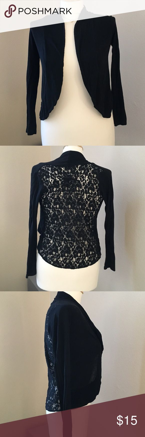 Shirt design with laces - Black Lace Back Cardigan