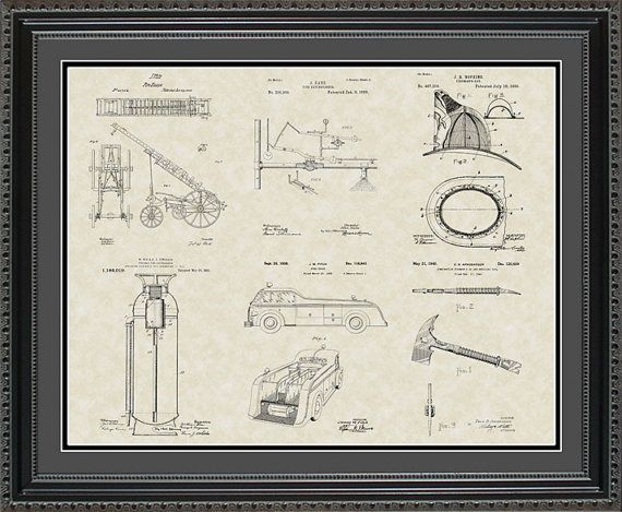 Firefighting Equipment Patent Art Wall Hanging | Fire Chief Gift PFIRE2024 on Etsy, $35.00