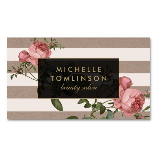 Beautiful decoupage-style business card template for hair salons, boutiques, interior designers, bloggers or any stylish business.