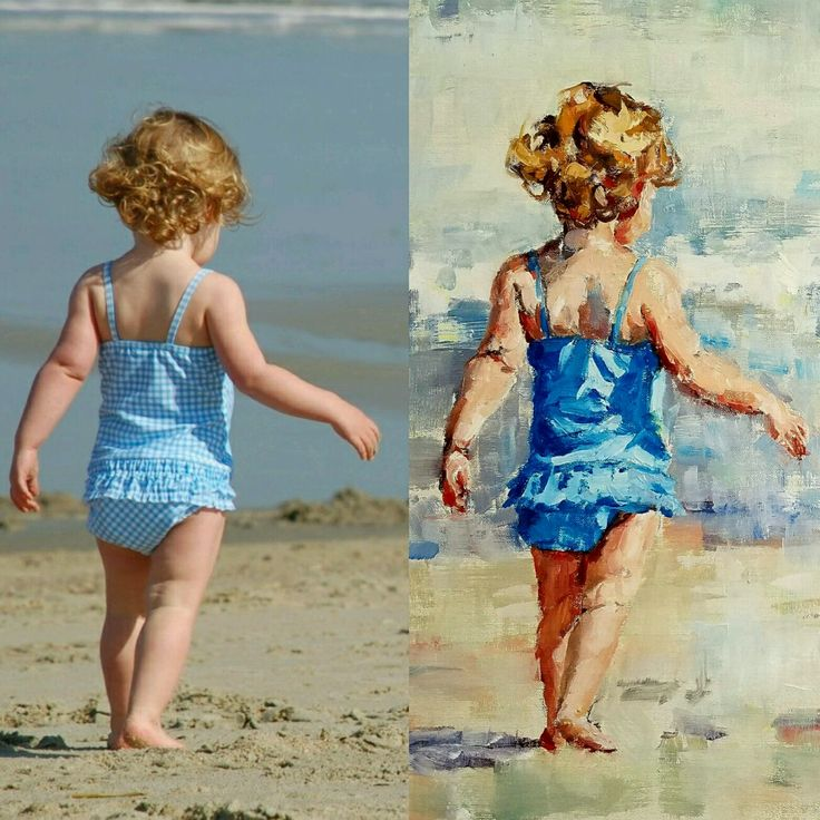Paintings of Children on the Beach ~ Commissioned portraits by impressionist artist Gina Brown
