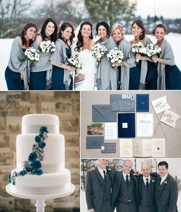 navy blue and grey wedding decor for winter themed wedding 2014-2015