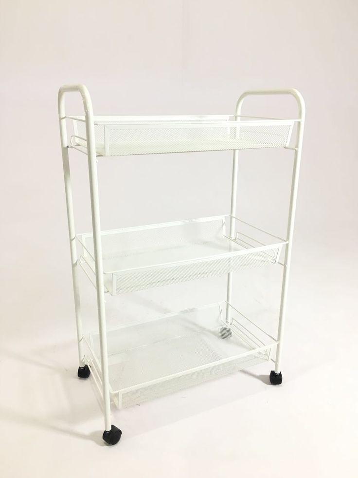 "PYF-0490--Metal White Net 3 Shelf Kitchen Trolley (h30""Xw19""Xd11"")"