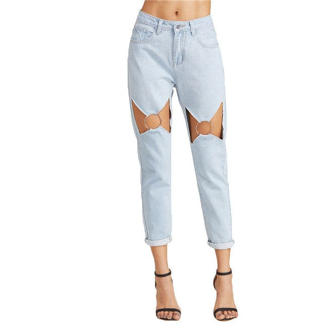 DolliedUP Boyfriend Jeans Low Waist Bleached Blue Wash with Cut Out O Ring Detail