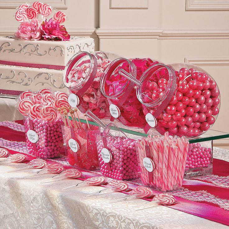 Pink Candy Buffet Assortment - This is a really good deal but I found if you actually buy all these separately from OTC it's less expensive.  Great selection of containers too.