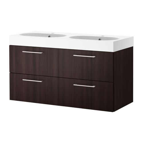 Ikea Wickelkommode Leksvik Gebraucht ~ GODMORGON BRÅVIKEN Sink cabinet with 4 drawers  black brown  IKEA