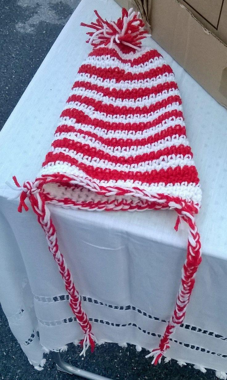 cappellino elfo colori natalizi per bimbo/bimba età 9-12 mesi in lana baby ad uncinetto