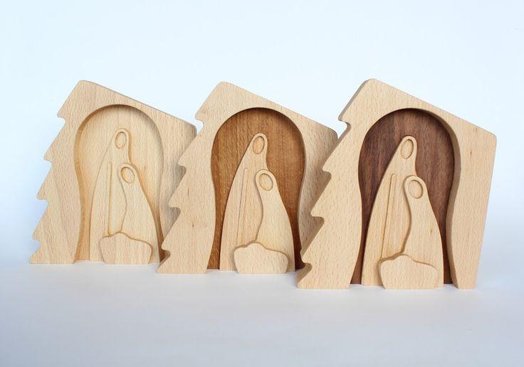 Deko-Objekte - Krippe Deko, Weihnachten Deko Holz, Tischdeko - ein Designerstück von LovingWoodCom bei DaWanda