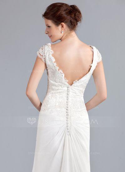 A-Line/Princess V-neck Court Train Chiffon Wedding Dress With Ruffle Lace Beading (002025340)