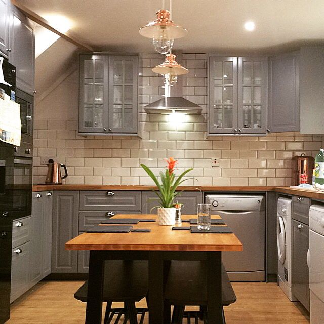 IKEA grey kitchen and table ❤️