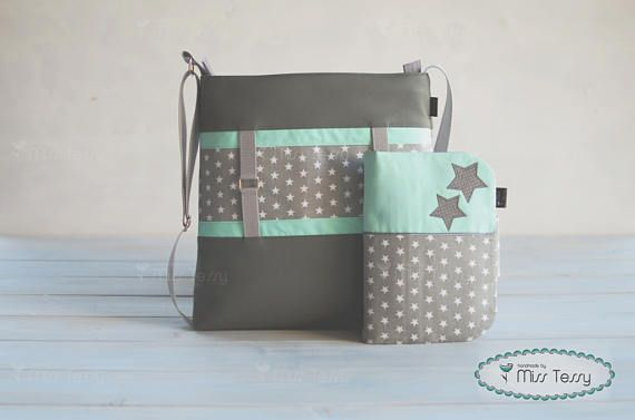 Diaper bag with diaper clutch| Diaper bags set  for boys | gray stars and mint diaper bag for mom