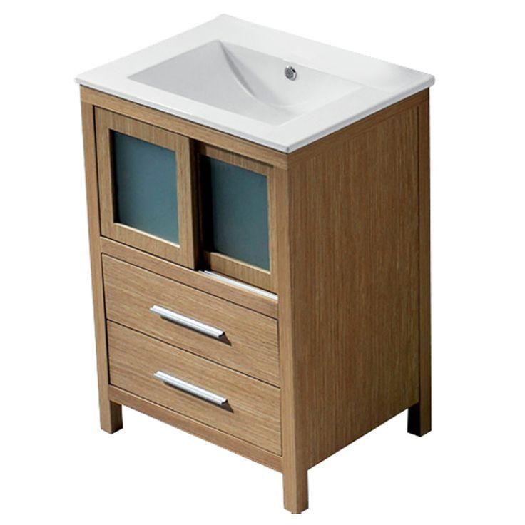 vigo 24 in white oak single sink bathroom vanity with top on lowes vanity id=58623