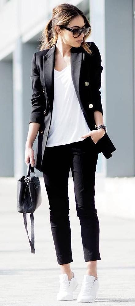 business casual idea: all black everything   white details wearing a blazer with sneakers