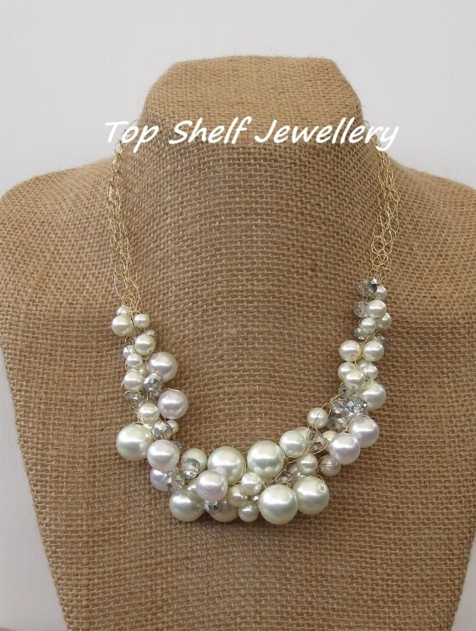 Pearls and Glass Crochet Wire and Beaded Bib Necklace - Jewelry creation by Top Shelf Jewellery & Accessories