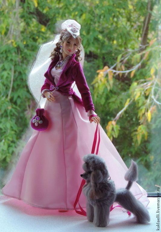 Купить Дама с собачкой - брусничный, розовый, малиновых, дама, собачка, пудель, дама с собачкой