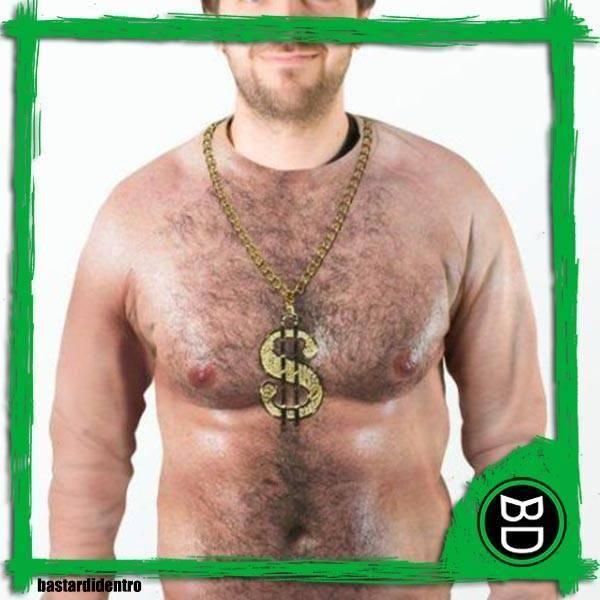maglietta, pelo, petto, torso, nudo, ramarro, medaglione, collana, oro, catena, villoso, humor bastardo