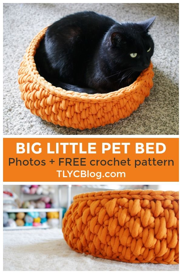 Make The Big Little Pet Bed A Free Crochet Pattern Made In Partnership With Yarnspirations Made With Bernat Ma Crochet Cat Bed Tl Yarn Crafts Cat Bed Pattern