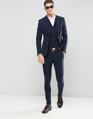 ASOS - Costume ultra skinny - Bleu marine