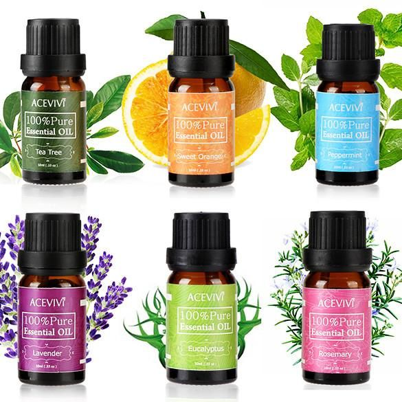 FREE SHIPPING,  Makeup Set 6pcs/set Gift Box 10ml Pure 100% Pure Lavender Rosemary Essential Oils Pack for Aromatherapy Spa Massage Bath Make Up
