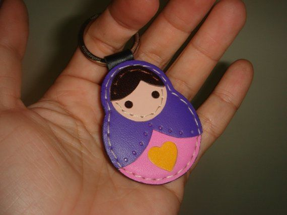 Lisa the Russian Doll leather keychain  Purple  by leatherprince, $19.89