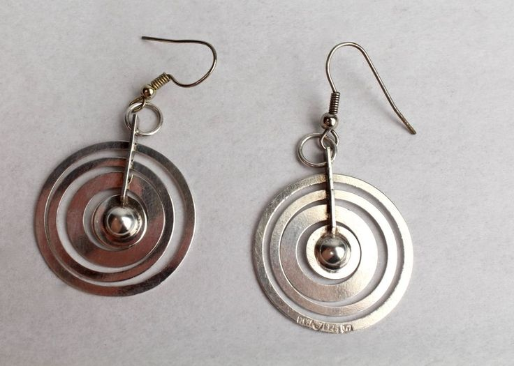 Sterling Silver Moon or Hopeakuu Earrings by Tapio Wirkkala Nils Westerback - SL