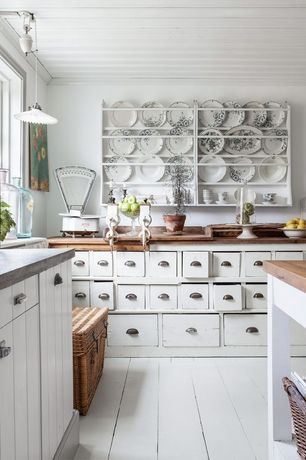 Cottage Kitchen with L-shaped, Hanging Plate Rack, reproduction of early American original, Pole handle storage basket
