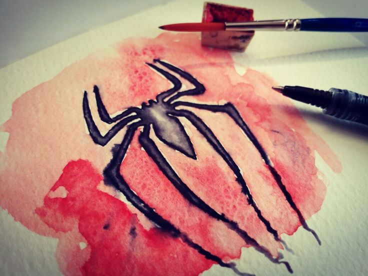 Logo Spiderman.  Watercolor and pen on paper.