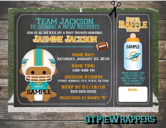 Printable Miami Dolphins Football Baby Shower Invitations Boy