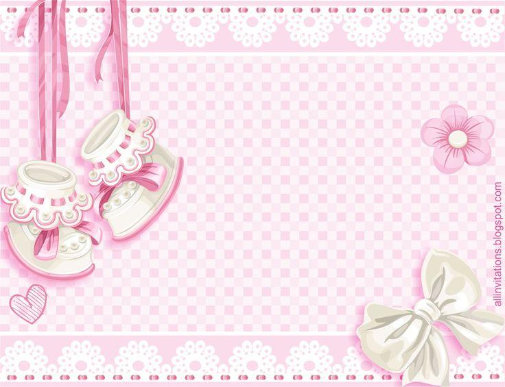 Plantilla invitacion baby shower zapatitos niña