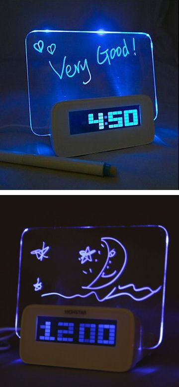 Message Board Blue Light Digital Alarm Clock...this is cool but I'm still trying to figure out how it works