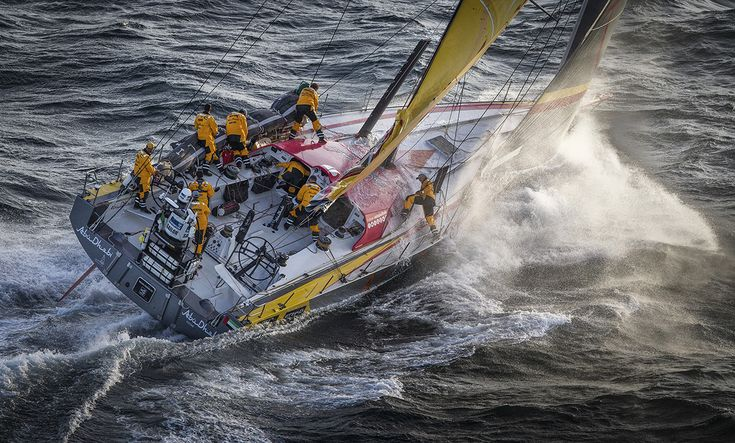 CAPE TOWN, SOUTH AFRICA - NOVEMBER 19:  In this handout image provided by the Volvo Ocean Race, Abu Dhabi Ocean Racing during the start of Leg 2 from Cape Town to Abu Dhabi on November 19, 2014 in Cape Town, South Africa. The Volvo Ocean Race 2014-15 is the 12th running of this ocean marathon. Starting from Alicante in Spain on October 04, 2014, the route, spanning some 39,379 nautical miles, visits 11 ports in eleven countries (Spain, South Africa, United Arab Emirates, China, New Zealand…