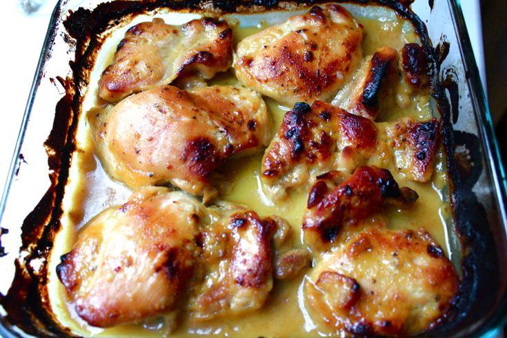 Pollo con mostaza, sirope de arce y romero