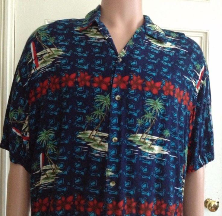 Vintage Hawaiian Shirt Mens Size L Thums Up Large Rayon Aloha Camp #ThumsUp #Hawaiian