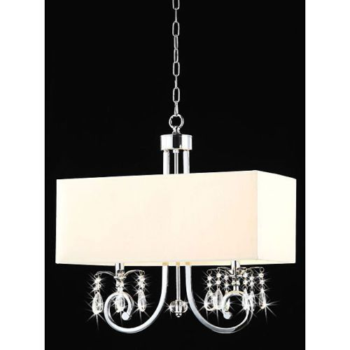 Rectangular Beige And Crystal Chandelier Light Pendant