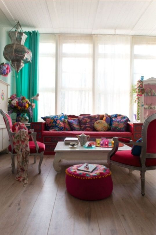 """This colourful living room is from our feature """"Dazzling Xmas Fever"""""""
