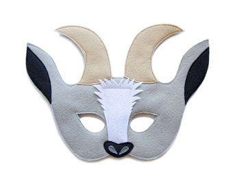 Chèvre gris en feutre masque, masque de chèvre en feutrine, costume enfants chèvre, masque animal de ferme adulte, jeu de chèvre, habiller de masque, jouets, masque de théâtre en feutrine