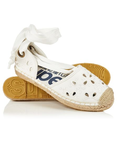 Superdry Lola Lace Up Espadrilles Ivory