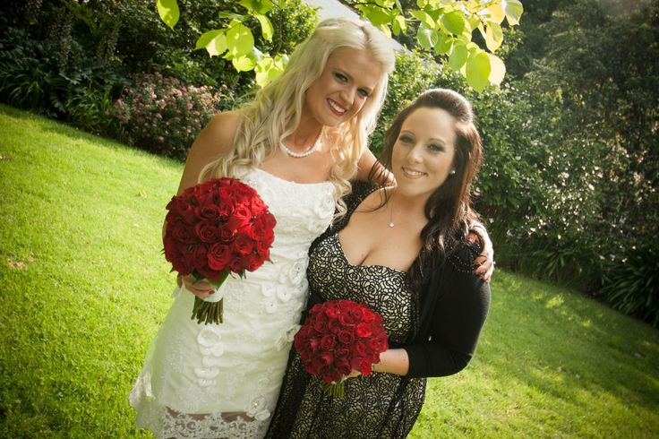 Vibrant red rose bridal bouquets