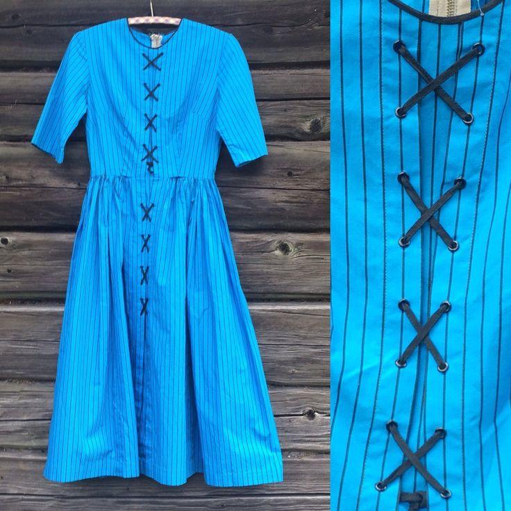 50-tal 1950-tal klänning vintage turkos bomull på Tradera.com -
