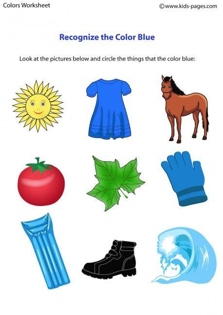 Color Blue worksheets