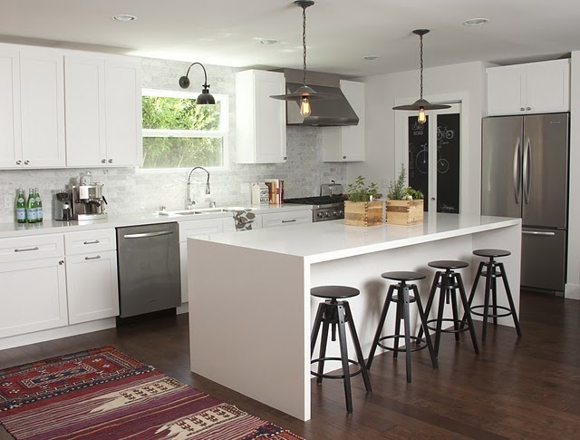 WHITE KITCHEN CABINETS!!: Interior Design, Ideas, Amber Interiors, Islands, Ikea Stool, White Kitchens