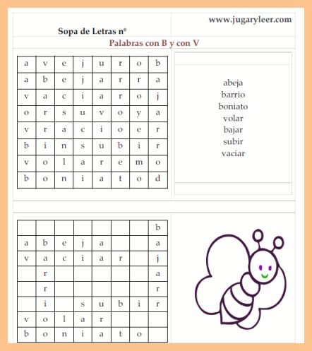 sopa de letras n1 palabras con b y v