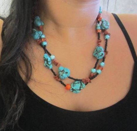 Chunky Turquoise Nugget Necklace Gemstone Layered Boho Statement #fashion #jewelry #style #gift #ideas