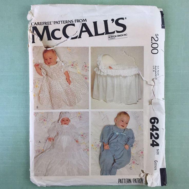 Uncut Vtg 1970s McCalls 6424 Pattern Infant Baby Christening Gown Bonnet 6 Month #McCalls