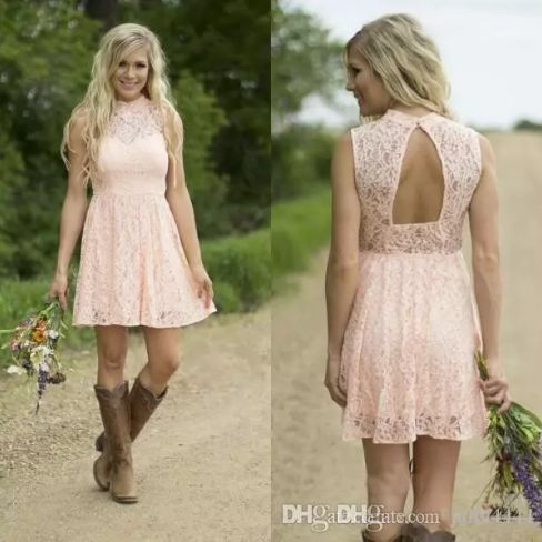 Country Bridesmaid Dresses 2017 Blush Pink Short Lace Bridesmaids Gown Illusion High Neck Beads Sequins Open Back Dress for Weddings