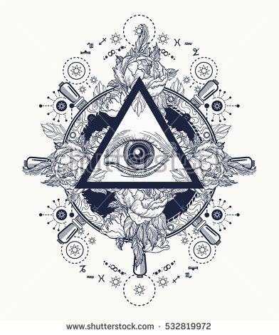 All seeing eye pyramid  tattoo art. Freemason and spiritual symbols. Alchemy, medieval religion, occultism, spirituality and esoteric tattoo. Magic eye t-shirt design. Roses and the ship's helm.