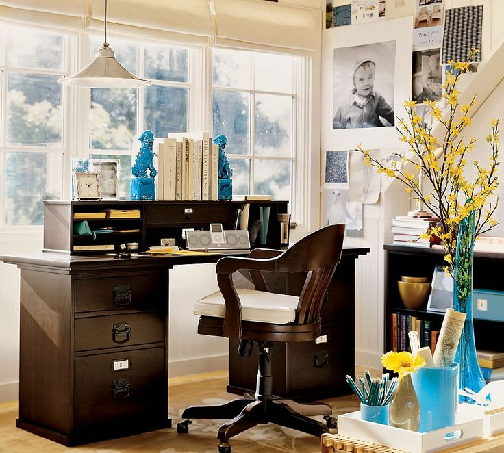 Awesome Home Office Decorating Idea With Brown Desk With White Books, Brown  Chair, Yellow Plant In The Blue Vase, And White Pendant Light