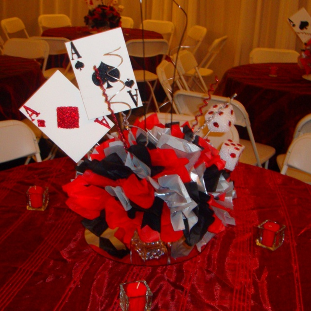 Inexpensive vegas theme centerpiece i made each one at